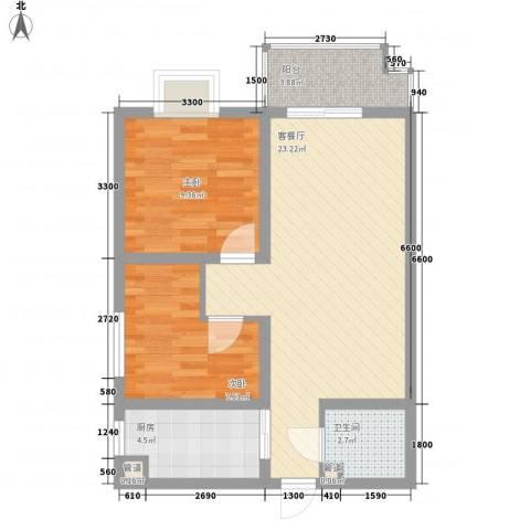 昌仁里小区2室1厅1卫1厨90.00㎡户型图