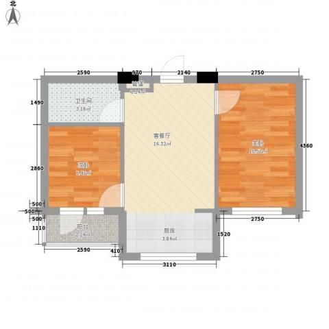 金山名苑2室1厅1卫0厨56.00㎡户型图