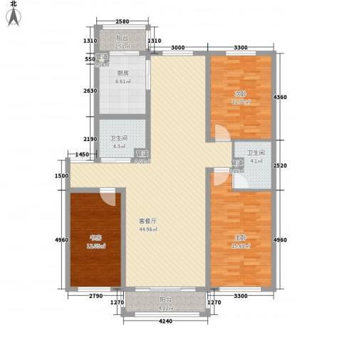 慈善小区3室1厅2卫1厨154.00㎡户型图