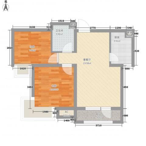 亚泰鼎盛国际2室1厅1卫1厨71.00㎡户型图