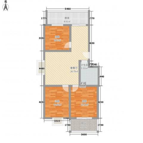 果岭小镇项目3室1厅1卫1厨107.00㎡户型图
