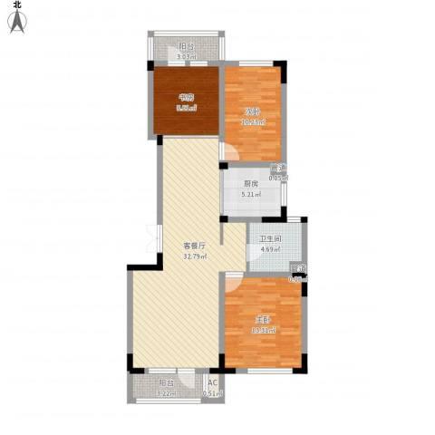 复地哥德堡森林三期墅香洋房3室1厅1卫1厨118.00㎡户型图