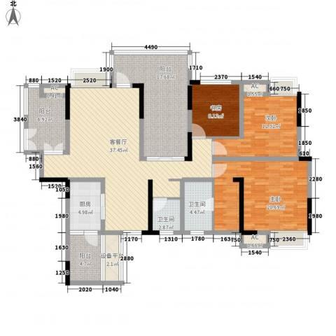 国电金海域3室1厅2卫1厨141.00㎡户型图