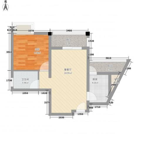 五指山・天之城1室1厅1卫1厨64.00㎡户型图