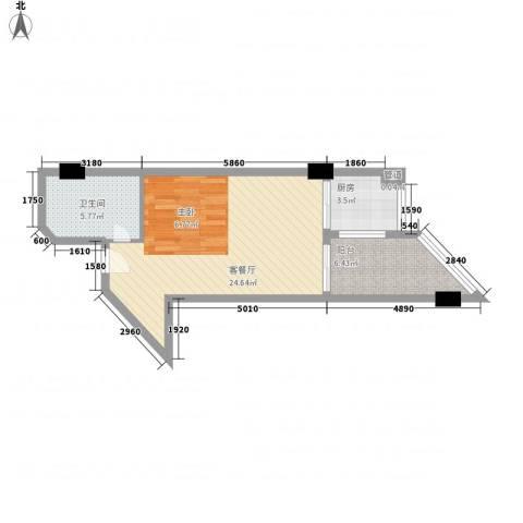 博鳌・白马郡1厅1卫1厨63.00㎡户型图