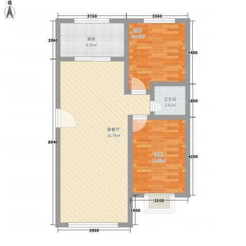 和发紫薇园2室1厅1卫1厨63.19㎡户型图