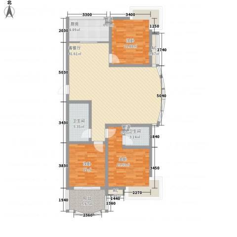 通泗街坊3室1厅2卫1厨143.00㎡户型图