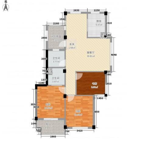 隆兴峰景苑3室1厅2卫1厨122.00㎡户型图