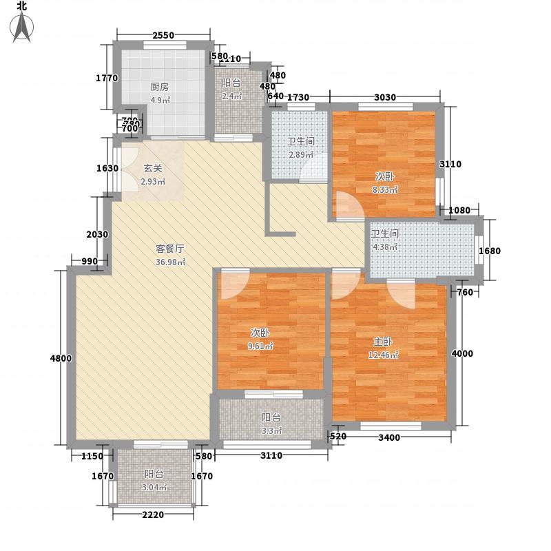 浅水湾蔚蓝水岸125.00㎡户型3室2厅2卫1厨