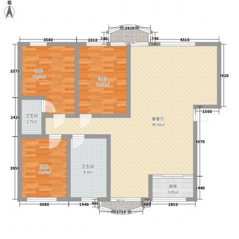 今日家园二期3室1厅2卫1厨147.00㎡户型图