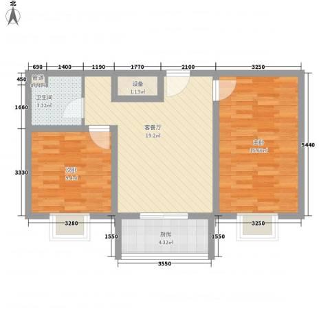 果岭小镇项目2室1厅1卫1厨72.00㎡户型图