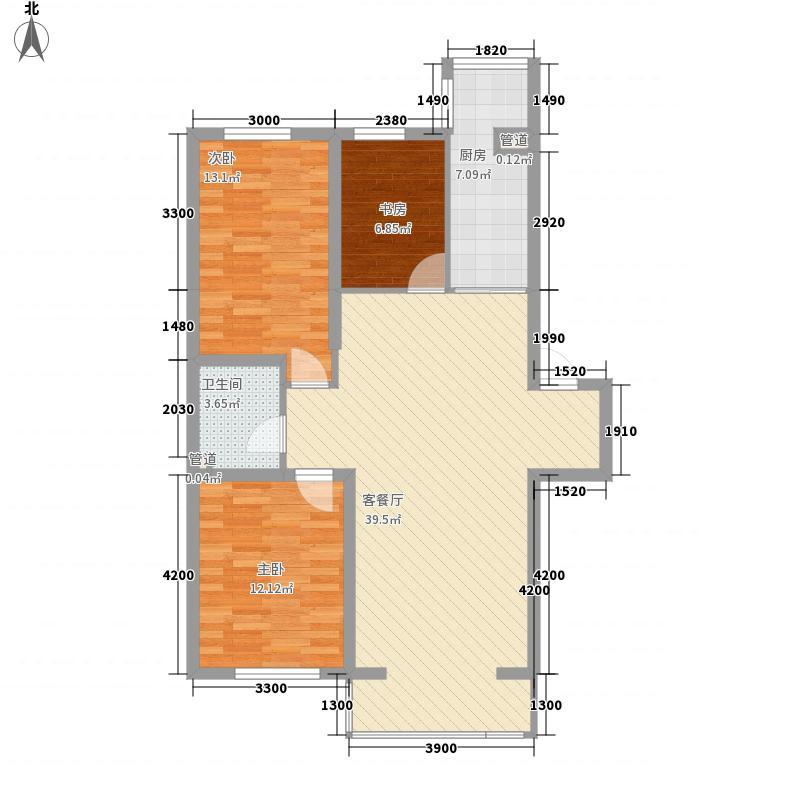 御览茗居108.77㎡御览茗居户型图3室2厅1卫户型10室