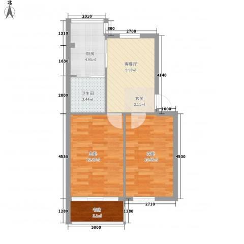 九林居回迁房3室1厅1卫1厨64.00㎡户型图