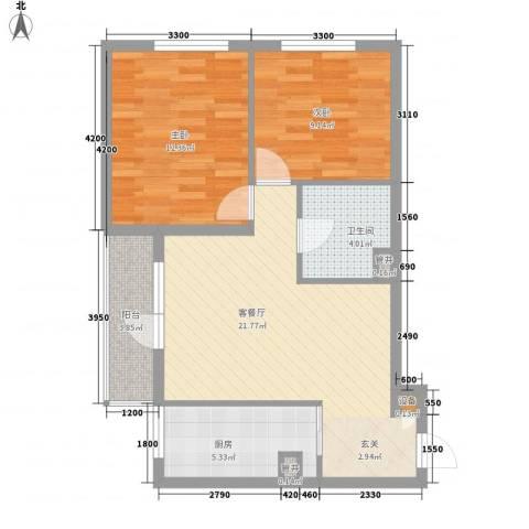 九林居回迁房2室1厅1卫1厨81.00㎡户型图