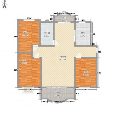 富安新居3室1厅1卫1厨162.00㎡户型图