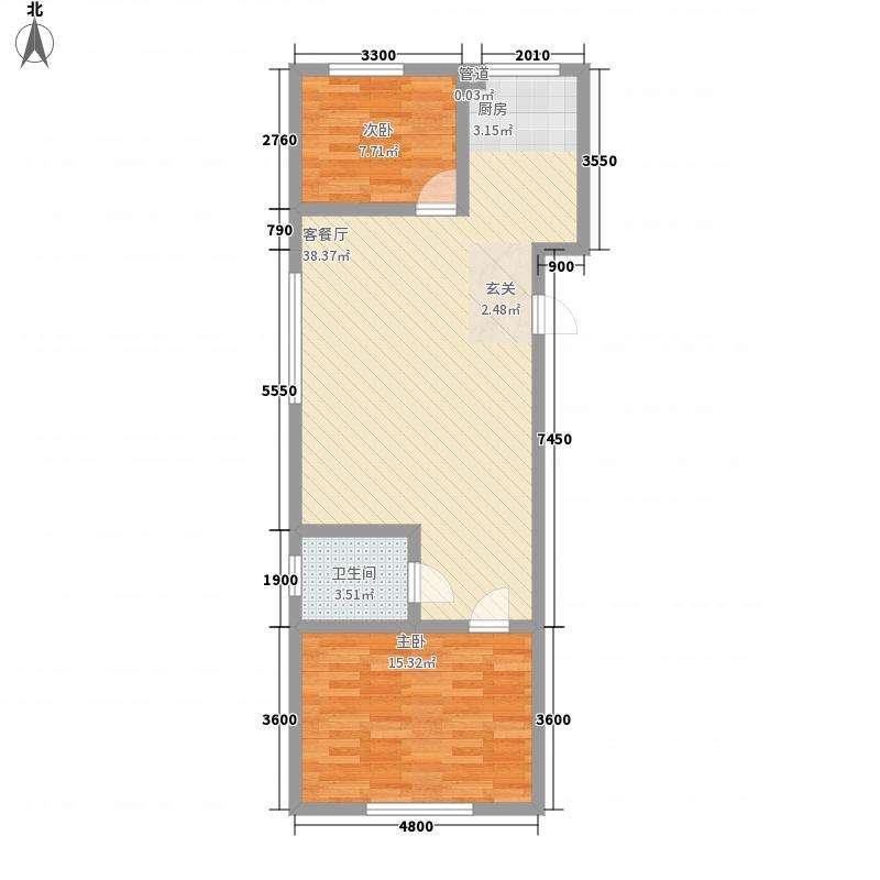 兴隆家园3#标准层J户型2室2厅1卫