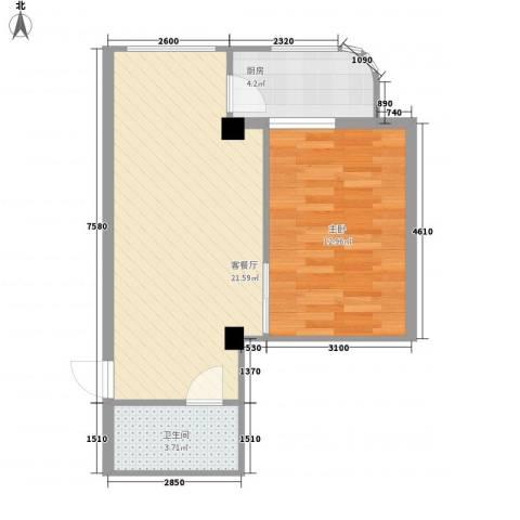 盛滨花园1室1厅1卫1厨59.00㎡户型图