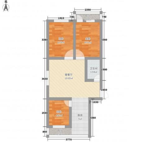 迎泽区法院宿舍3室1厅1卫0厨48.00㎡户型图