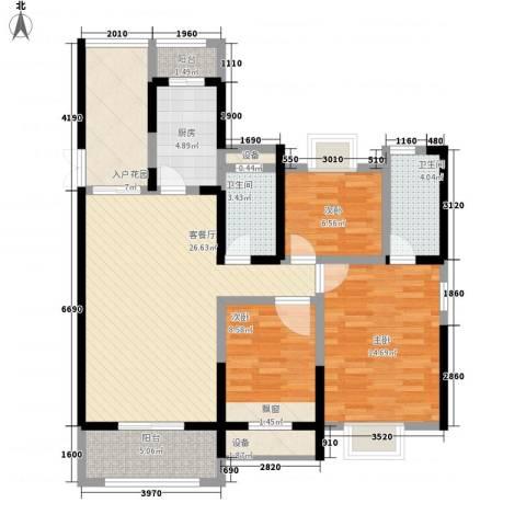 振业泊墅3室1厅2卫1厨125.00㎡户型图