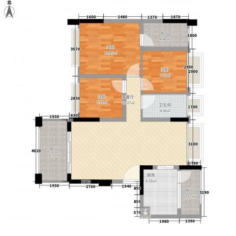 金马香颂居3室1厅1卫1厨106.00㎡户型图