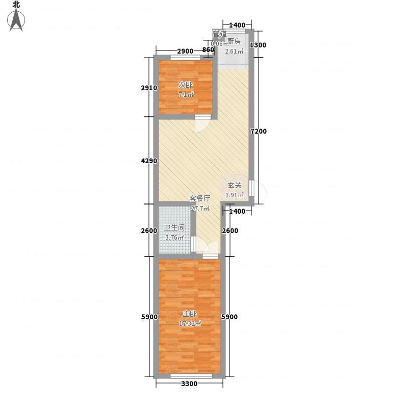 兴隆家园3#标准层K户型2室2厅1卫
