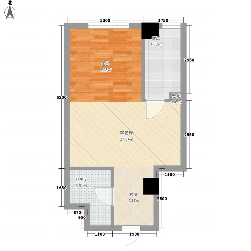 银河国际55.14㎡银河国际户型图1室1厅1卫户型10室