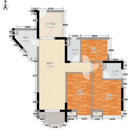 星城香洲花园3室1厅2卫1厨116.00㎡户型图