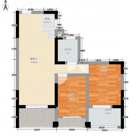 �海2室1厅2卫0厨80.00㎡户型图