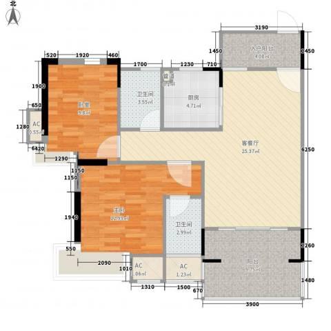 丽雅嘉园1室1厅2卫1厨76.18㎡户型图