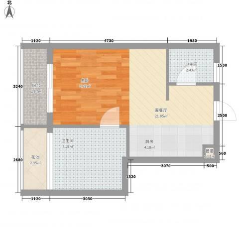 �海1厅2卫0厨52.00㎡户型图