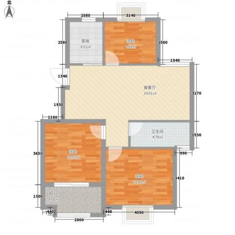 奥体清华苑3室1厅1卫1厨97.00㎡户型图