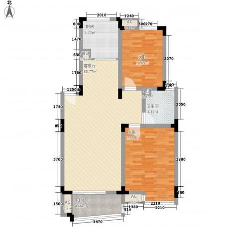 和一花园2室1厅1卫1厨76.76㎡户型图