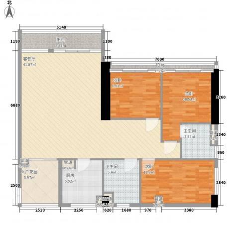 双大国际公馆3室1厅2卫1厨141.00㎡户型图