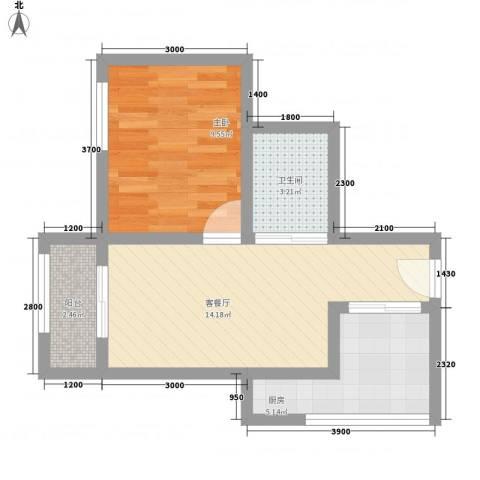 富润阳光1室1厅1卫1厨55.00㎡户型图