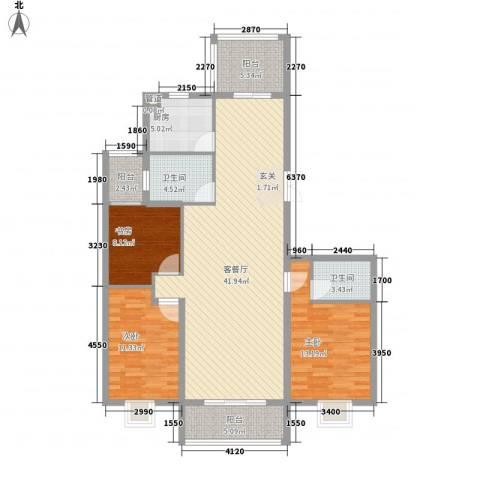 芝兰新城3室1厅2卫1厨143.00㎡户型图