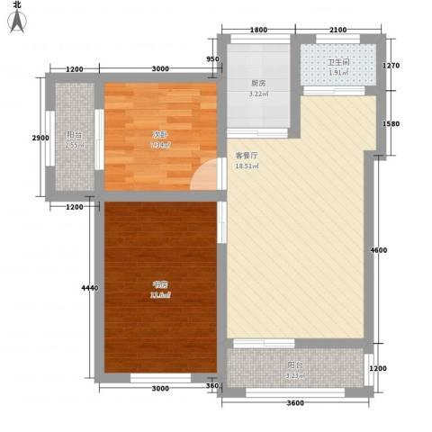 富润阳光2室1厅1卫1厨57.50㎡户型图