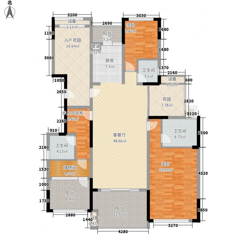 万科金域华庭177.00㎡榆景阁B02单位户型3室2厅3卫1厨