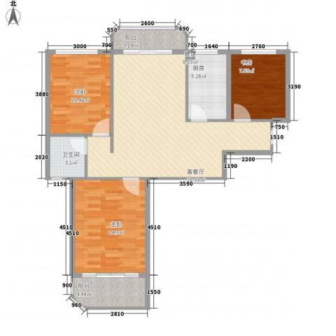 碧水戎城3室1厅1卫1厨108.00㎡户型图