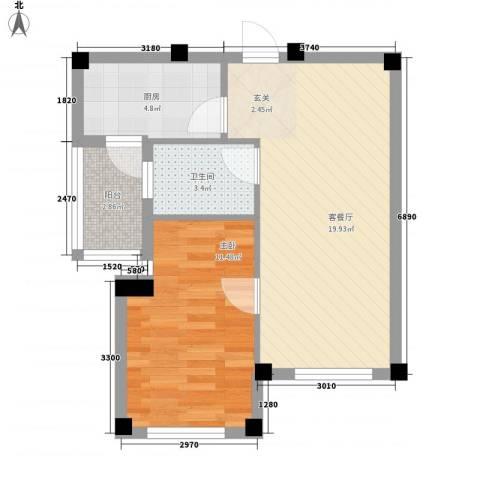 书香门第1室1厅1卫1厨51.00㎡户型图