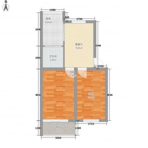富强社区2室1厅1卫1厨63.00㎡户型图