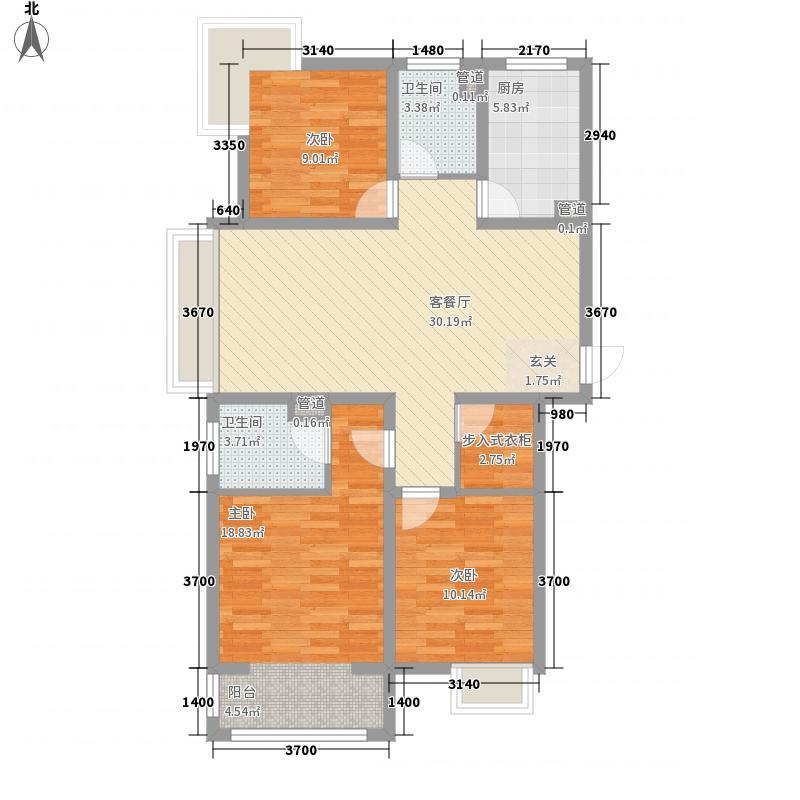 月澜锦程121.00㎡一期高层A户型3室2厅2卫1厨