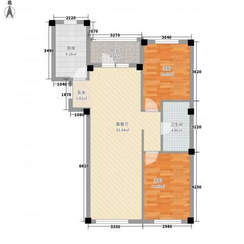 书香门第2室1厅1卫1厨88.00㎡户型图