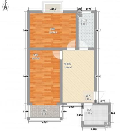 凤凰山庄三期2室1厅1卫1厨76.00㎡户型图