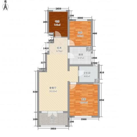 红蔷花园3室1厅1卫1厨115.00㎡户型图