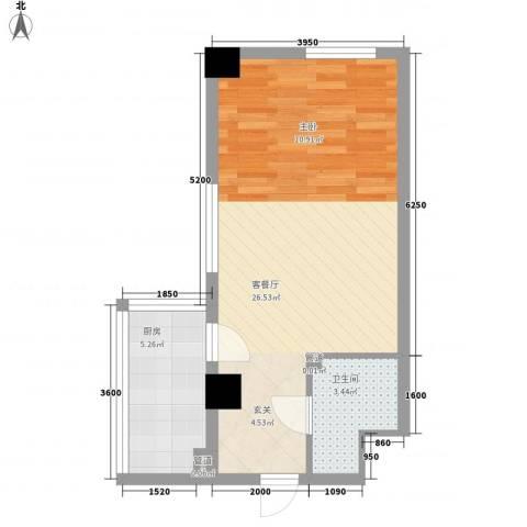 银河国际1厅1卫1厨55.00㎡户型图