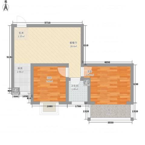 凤凰山庄三期2室1厅1卫0厨66.00㎡户型图