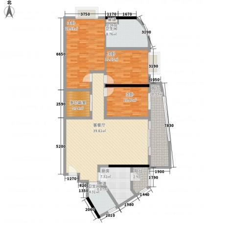 中顺领御公馆3室1厅2卫1厨160.00㎡户型图