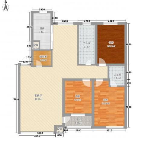 新华壹品3室1厅2卫1厨132.00㎡户型图