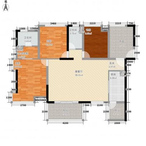 龙湾银都3室1厅2卫1厨163.00㎡户型图