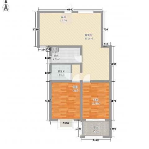 众兴・嘉城2室1厅1卫1厨71.71㎡户型图